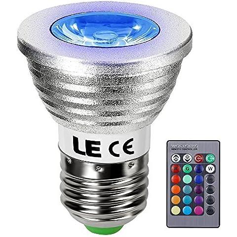 LE Bombilla LED 3W RGB E27 MR16, multicolor, regulable, 16 colores, mando a distancia, luz LED