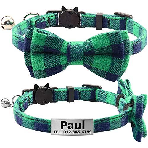 TagME Personalisierter Katzenhalsband mit Sicherheitsverschluss & Krawatte, Katzenmarken aus Edelstahl Gravur mit Name und Telefonnummer,Grün