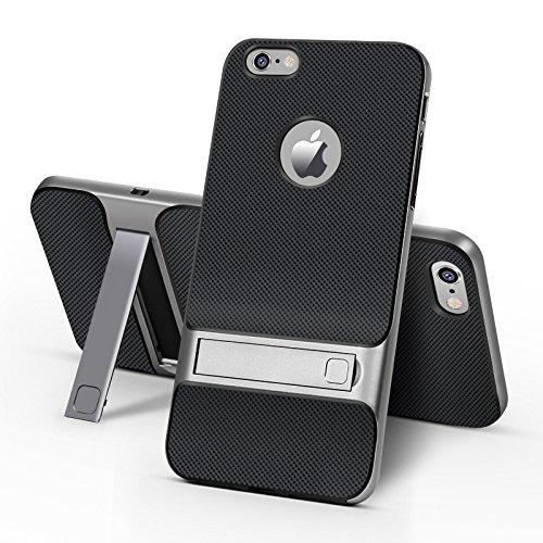 BCIT iPhone 6 Plus Custodia - ibrida Morbido resistente agli urti + Bumper Frame Dual Layer Case con Supporto di protezione per iPhone 6 Plus - Oro Grigio