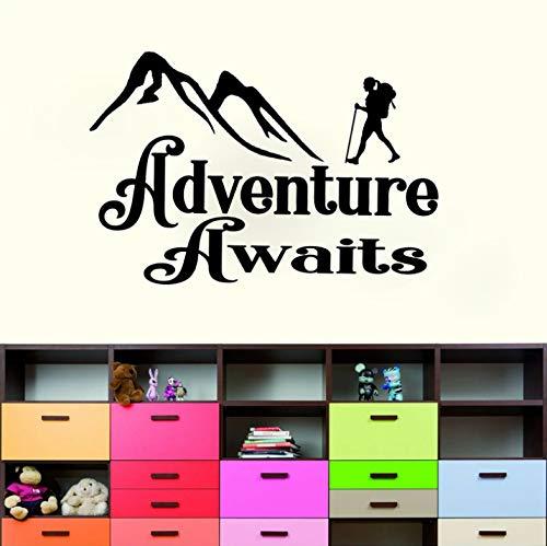 HLZLAAdventure erwartet Decal Camper Stiefel Trail Schlafsack zu Hause PVC Wandaufkleber Wohnzimmer Schlafzimmer Kinderzimmer 65x43cm