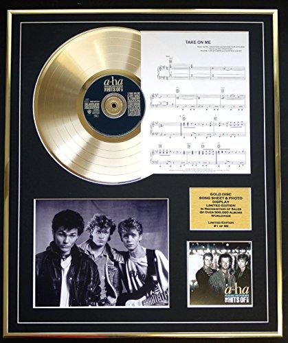 A-HA CD GOLD DISC UND PHOTO UND SONG SHEET DISPLAY/LIMITIERTE AUFLAGE/COA/ALBUM, HEADLINES AND DEADLINES /SONG SHEET, TAKE ON ME