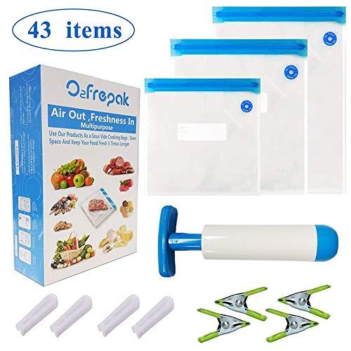 Sous Vide Taschen Wiederverwendbare Lebensmittel Vakuum Versiegelt Lebensmittel Lagerung Taschen mit 34 BPA FREI und FDA Genehmigt Lebensmittel Schoner Taschen, 4 abdichtung Clips - Vakuum Versiegelt Lagerung