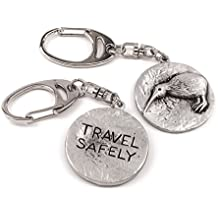 New Zealand/Kiwi bird 'Travel Safely' metal keyring for travellers, Gift
