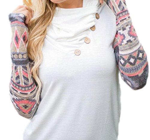 erdbeerloft - Damen Fashion Longshirt mit gesmoktem Kragen, 36-40, Viele Farben Weiß