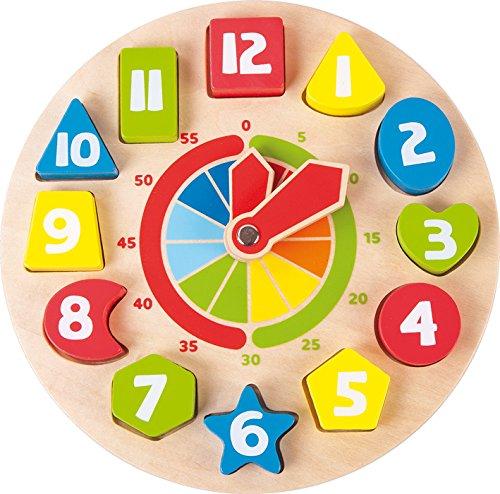 Lernuhr Formen aus Holz, schult das Erlernen von Uhrzeiten durch Formen, mit drehbaren Zeigern, im farbenfrohen, kindgerechten Design, für Kinder ab 4 Jahre