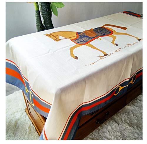 WJYdp Nappe Carrée Blanche Tissu en Polyester pour Chevaux Vacances Nappe Décoration De Fête,140X140 cm