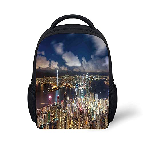 Kids School Backpack Cityscape,Night View Hong Kong Victoria Harbor Business Financial District Cityscape Print,Navy White Plain Bookbag Travel Daypack