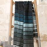 Ibena Kuscheldecke 150x200cm Belmont, Tagesecke grau - Petrol, Wolldecke 150x200 aus hochwertiger Baumwollmischung, kuschelig weich und angenehm wärmend