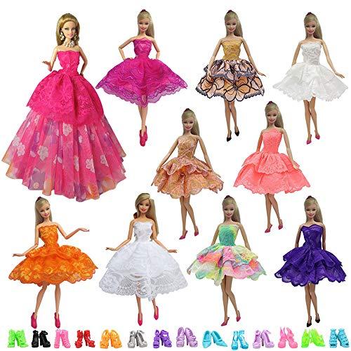 t Kleidung Kleider mit 10 Paar Schuhen für Barbie Puppen für Geburtstag Geschenk ()