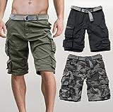 Bermuda Cargo shorts con tasconi laterali, pantaloncini corti, vestibilità sotto il ginocchio, logo su tasca laterale, tessuto 100% cotone robusto, comodi e resistenti, cintura inclusa. taglie aggiornate : 44 (XS) girovita 80 cm. 46 (S) girov...