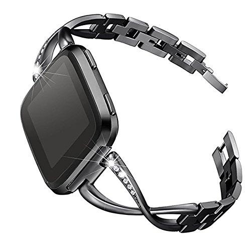 Für Fitbit Versa, Edelstahl Metall Kristall Uhrenarmband, Luxus Kreuzbesetztes Diamant Legierungs Bohrstahlband Handschlaufe Watch Band (Schwarz)