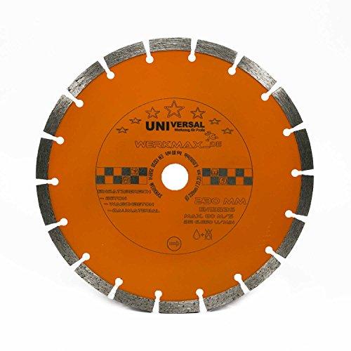 Diamanttrennscheibe Ø 230 mm für Beton, Ziegel, Pflaster, Mauerwerk | Bohrung 22,2 mm für für Winkelschleifer | Unimax-230-22