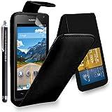 Kamal Star® Huawei Y5 Funda PU Leather Cuero con Tarjeta de Crédito Slots Funda Wallet Carcasa Cover + Stylus (Black Flip)