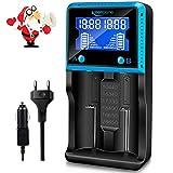 Vape Akku Ladegerät Universal, Keenstone LCD Smart schnelles Batterieladegerät für Akkus NI-MH NI-CD AA AAA Li-Ion LiFePO4 IMR 10440 14500 16340 18650 RCR123 26650