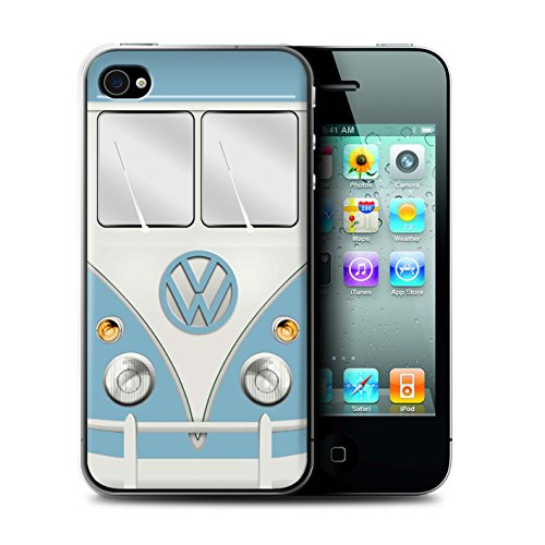 Coque de Stuff4 / Coque pour Apple iPhone 5/5S / Titan Rouge Design / Rétro T1 Bus Campeur Collection Fjord Bleu