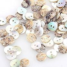 SODIAL(R) Set de 100 Botones Nacar Redondo 2 Agujeros Nuevo DIY