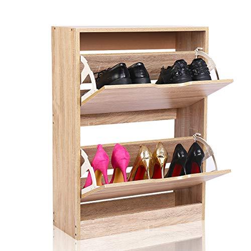Happy home products portascarpe 2 cassetti scarpiera legno per entrata corridoio camerino (legna, l60*w23.5*h81.5)