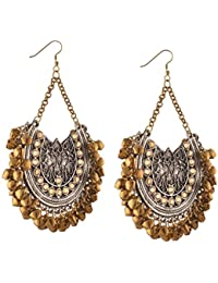 Zephyrr Jewellery Oxidized Silver Afghani Tribal Dangler Hook Chandbali Earrings For Women And Girlss