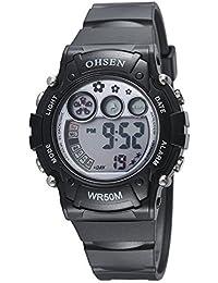 410c8ce41992 Infantiles Niños Niñas Relojes Deportivos Impermeable Digital Led  Multifunción Al Aire Libre Reloj De Pulsera Negro