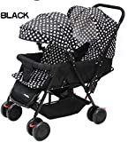 Twin Stroller Comfortable Shockproof White Dotted Black - Twin Pram for Babies