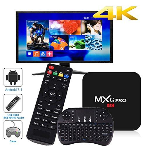 Fernsehkasten, HD 1080P 4K WiFi S905W Viererkabel-Kern Android 7.1 1 + 8GB Smart Fernsehkasten mit Tastatur I8 ()