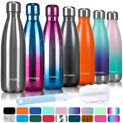 arteesol Trinkflasche, 350/500/750 ml Edelstahl Wasserflasche Doppelwandig Vakuumisoliert Water Bottle Schmaler Mund & BPA-frei für Outdoor-Sport Fitness Workout Camp & Office (Silber, 500ML)