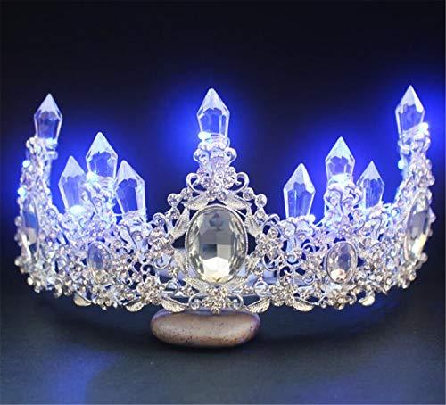 Braut Tiara, Krone Europäischen und Amerikanischen Barock Luminous Alloy Strass Romantische Hochzeit Zubehör, Geburtstagsparty Parade