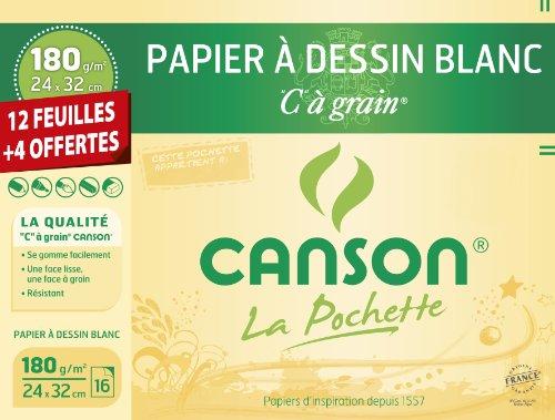 Canson 200001108 - album da disegno carta ruvida, 24 x 32 cm, colore: bianco