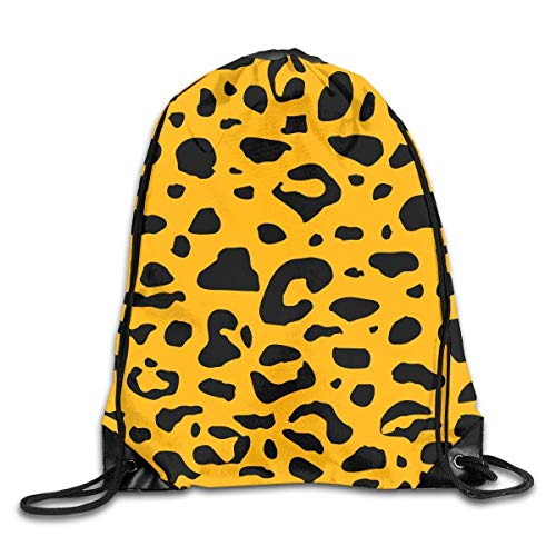 Drawstring Bag Leopard Grain Backpack Draw Cord Bag Sackpack Large Lightweight Gym Hiking Swimming Yoga - Tan Khaki Cord