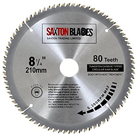 Saxton TCT Circular Wood Saw Blade 210mm x 30mm x 80T for Festool, Dewalt, Bosch, Makita etc
