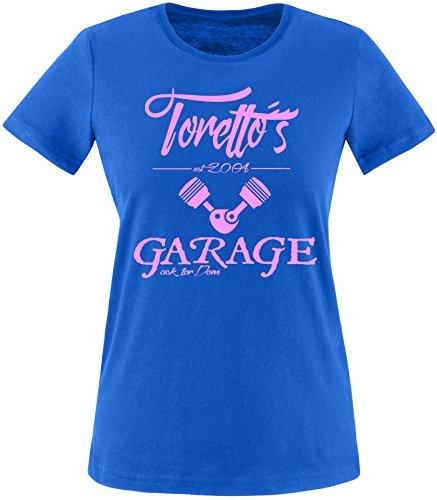 EZYshirt® Toretto´s Garage Damen Rundhals T-Shirt Royal/Rosa