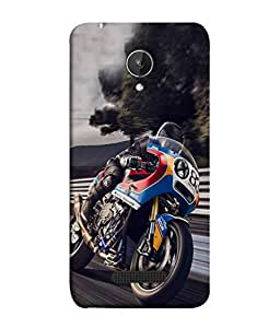 PrintVisa Designer Back Case Cover for Micromax Canvas Spark Q380 (Blue colored bike side view)