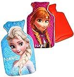 Unbekannt 1 Stück _ Wärmeflasche -  Disney Frozen - die Eiskönigin  - incl. Name - 0,75 Liter - mit extra weichen Plüsch Bezug - Kinderwärmflasche - Wärmekissen Heizk..