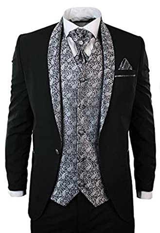 Herrenanzug Smoking 5 Teilig Schwarz Hose Weste Sakko Krawatte Und Handtuch Rund Schal Reverse