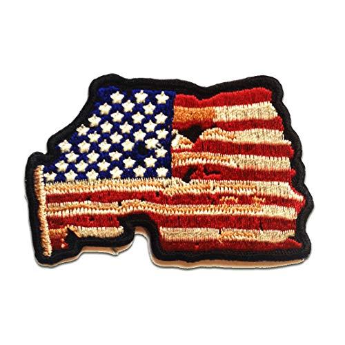 Aufnäher/Bügelbild - USA Flagge Fahne mit FADED Totenkopf Biker Skelett - rot - 7.9 x 5.2 cm - Patch Aufbügler Applikationen zum aufbügeln Applikation Patches Flicken - Skelett Biker-shirt