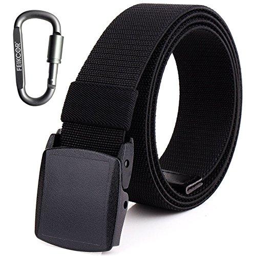 Cinturones de nylon para hombre Cinturón - Cinturón de tela de níquel casual ajustable de lona con hebilla de plástico YKK (Negro)