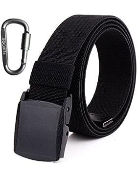 Cinturones de nylon para hombre Cinturón - Cinturón de tela de níquel casual ajustable de lona con hebilla de...