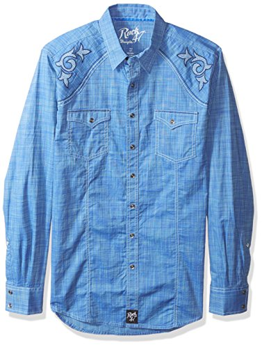 Wrangler Herren Men's Rock 47 Big and Tall Two Pocket Long Sleeve Shirt Button Down Hemd - Blau - (Button-down-hemd And Tall Big)