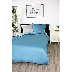 jilda-tex Bettwäsche Satinbettwäsche 100% Baumwolle Wendebettwäsche Unibettwäsche Verschiedene Größen und Farben (Blau, 135 x 200 cm)