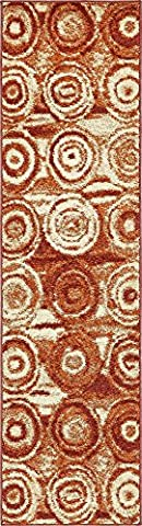 Modern Abstract 2-Feet by 10-Feet (2' x 10') Runner Harvest Terracotta Contemporary Area Rug