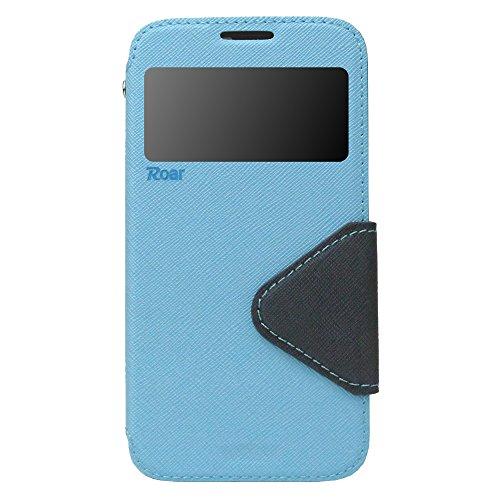Samsung Galaxy S5 Mini Hülle Flip Case Hellblau Schutzhülle mit Fenster und Magnetverschluss | Optimaler Schutz vor Kratzern, Staub, Schmutz, Spritzwasser | 100% Passgenaue Aussparungen für Anschlüsse, Bedienelemente, Kamera | Inkl. Vollumschließender Silikon-Innenhülle