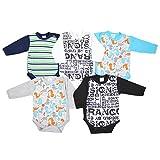TupTam Unisex Baby Langarm Wickelbody Baumwolle 5er Set , Farbe: Junge 2, Größe: 56