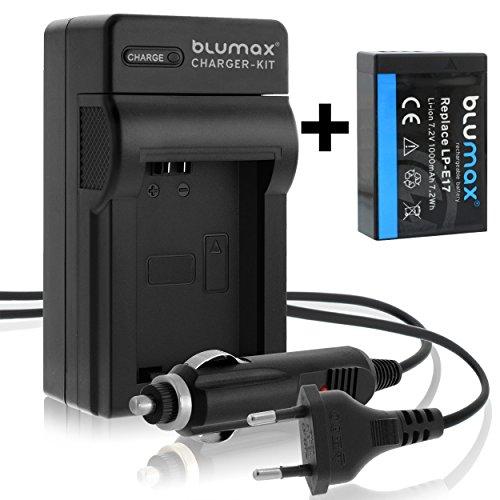 Blumax Batteria originale + caricatore per Canon EOS 750D 760D 750 760 D/LPE17 LP-E17, 1000 mAh