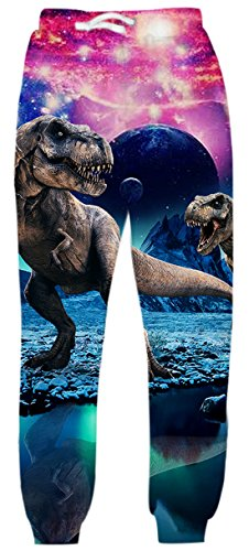 uideazone Teens Jogginghose 3D Print Dinosaurier Turnhalle Jogger Sporthose S