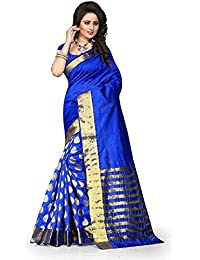 Silverstar Women's Cotton Silk Saree With Blouse Piece (Sss1070 Blue Goli Sari Vfh5_Blue)