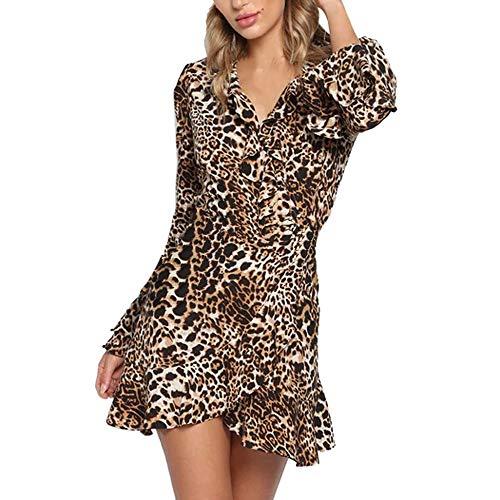 beautyjourney Mini Vestido con Cuello de Pico para Mujer, Vestido de Fiesta con Estampado de Leopardo con Volantes y Manga de Trompeta Abrigo Vestido de cóctel Clubwear
