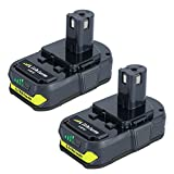 Biswaye Upgraded 2 Packs 18V 2.5Ah Li-IonKompakte Batterie für RYOBI One Plus RB18L25 RB18L50 P108 P107 P104 18 Volt Draussen Akku-Elektrowerkzeug