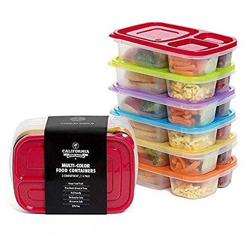California home goods - contenitori alimentari tipo bento a 3 scomparti, riutilizzabili, per adulti e bambini, adatti per microonde e lavastoviglie, multicolore (set da 6)