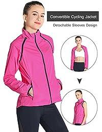 RunAlp Chaqueta de ciclismo de Jersey Mujeres Extraíble manga reflectante impermeable ligero Bike Chaquetas (tamaño: S-XL Por favor, elige un tamaño de arriba)