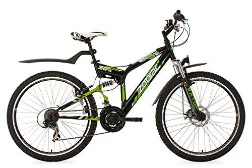 KS Cycling Fahrrad Mountainbike ATB Fully Zodiac RH 48 cm Schwarz/Grün, 26 -